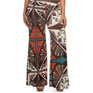 MOA Collection Women's Plus Size Geometric Palazzo Pants
