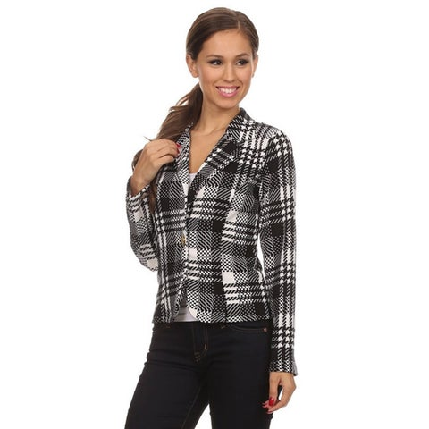 MOA Collection Women's Regular and Plus Size Plaid Blazer