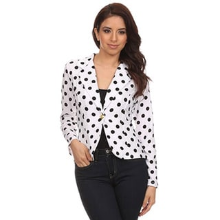 MOA Collection Women's Regular and Plus Size Polka Dot Blazer