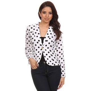 MOA Collection Women's Regular and Plus Size Polka Dot Blazer