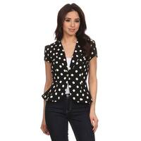MOA Collection Women's Polka Dot Regular and Plus-size Flare Blazer