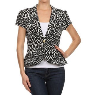 MOA Collection Women's Flare Blazer with Tribal Print