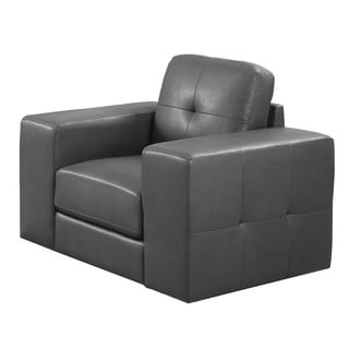 Charcoal Grey Bonded Leather Chair With Match