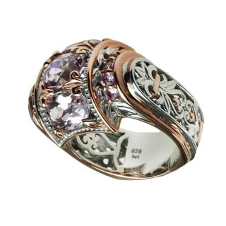 Michael Valitutti Oval Kunzite with Round Light Pink Tourmaline Ring