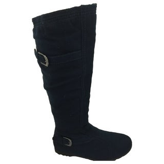 Nichole Simpson Women's Suede Knee-High Buckle Riding Boots