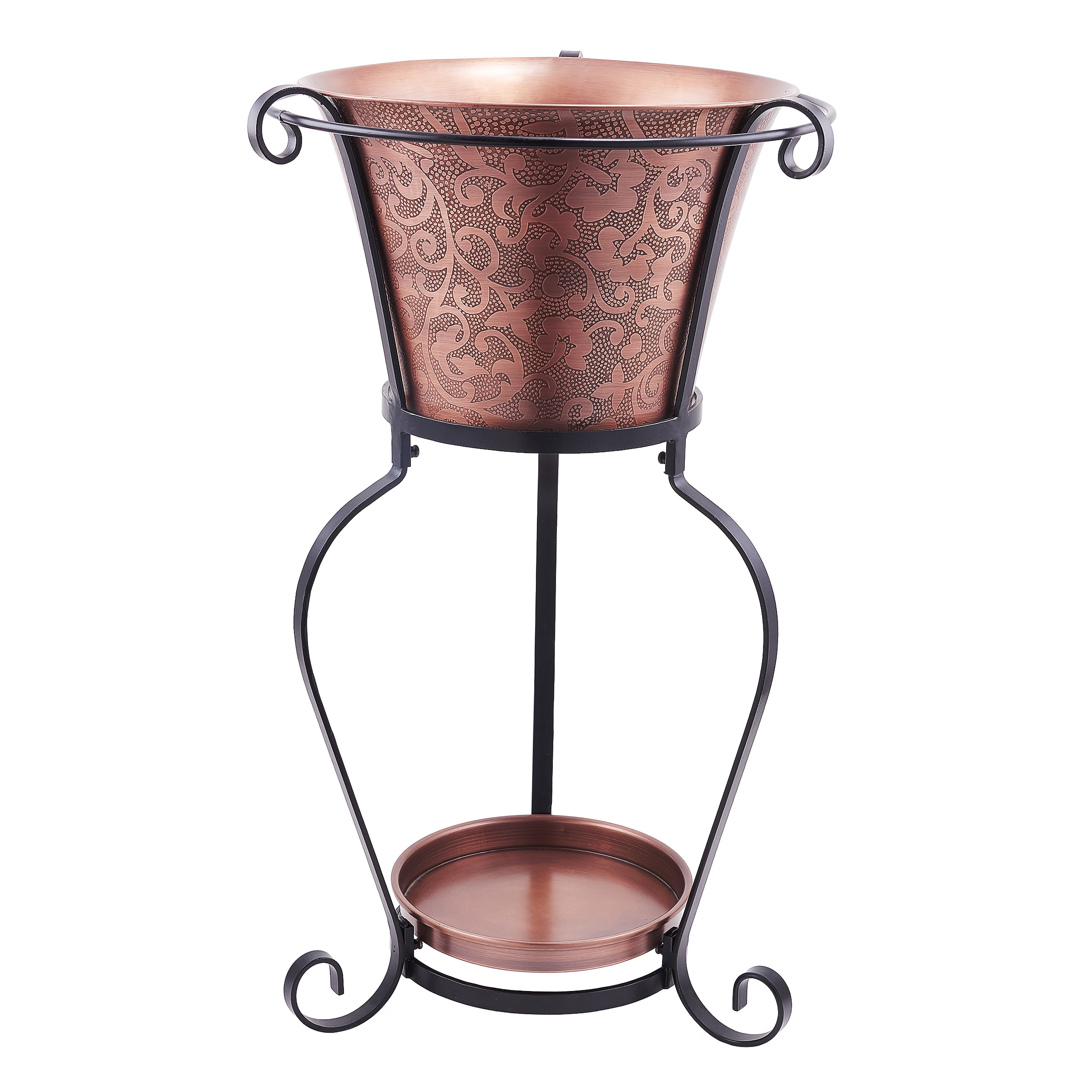 Picture of: Shop Black Friday Deals On 19 75 X 32 Solid Copper Etched Beverage Tub With Stand 5 Galllon Overstock 10702058