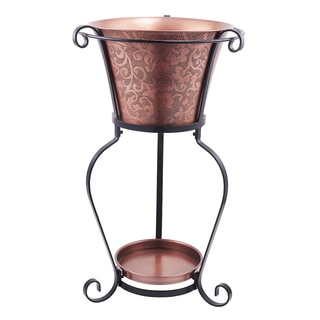 "19.75 x 32"" Solid Copper Etched Beverage Tub with Stand, 5 Galllon"