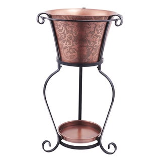 """19.75 x 32"""" Solid Copper Etched Beverage Tub with Stand, 5 Galllon"""
