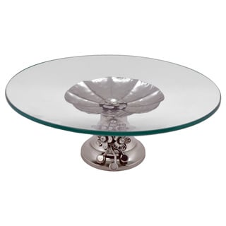 Round Platter On Metal Base
