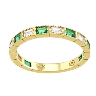 Beverly Hills Charm 14K Gold Gemstones and 1/2ct TDW Anniversary Stackable Diamond Band Ring (H-I, SI2-I1)