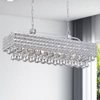 The Lighting Store Jolie Silvertone Iron/Crystal 5-light Rectangular Chandelier