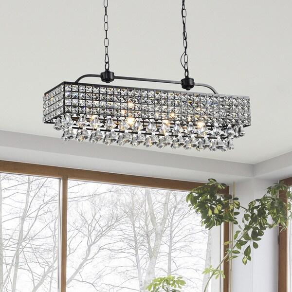 44 Inch Decorative High Quality Luxurious Ceiling Fans: Jolie Antique Black 5-light Rectangular Crystal Chandelier