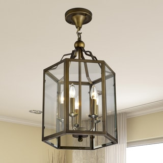Bronze Hexagon Lantern Semi-flush Mount Glass Chandelier