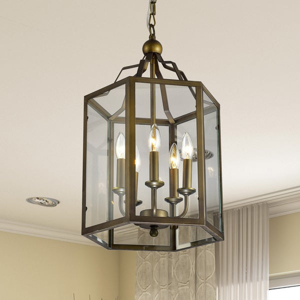 Bronze Hexagon Lantern Hanging Chandelier with Clear Glass