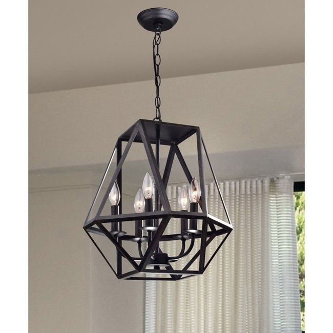 Shop Joshua 5 Light Multi Angular Antique Black Iron