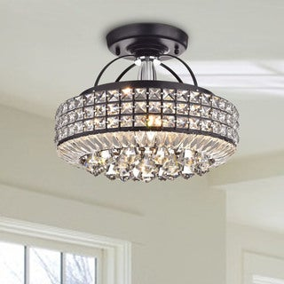 Jolie Antique Black Drum Shade Crystal Semi Flush Mount Chandelier