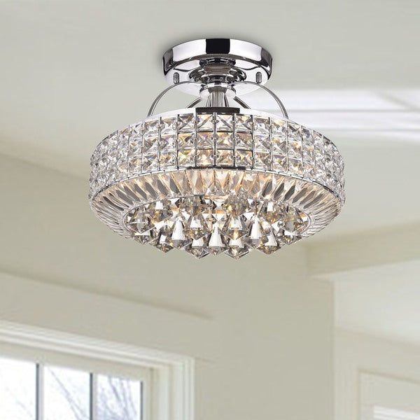 Flush Ceiling Chandeliers: Shop Jolie Chrome Drum Shade Crystal Semi Flush Mount