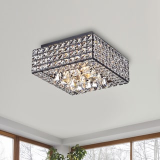 Gisela Modern Square Crystal Flush Mount Chandelier in Antique Black