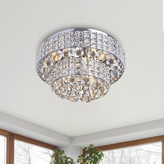 Jolie Chrome Two Tier Crystal Shades Flush Mount Chandelier