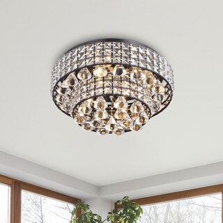 Jolie Antique Black Two Tier Crystal Shades Flush Mount Chandelier