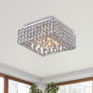 Gisela Modern Square Crystal Flush Mount Chandelier in Chrome
