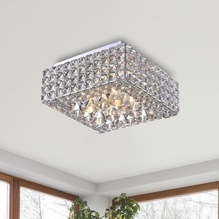 The Lighting Store Gisela 4-light Modern Chrome Iron and Crystal Square Flush Mount Chandelier