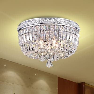 Elisa 4-light Chrome and Crystal Flushmount Chandelier - 9.1 inches high x 15 inches in diameter