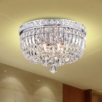 Elisa 4-light Chrome and Crystal Flushmount Chandelier
