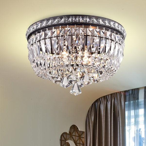 The Lighting Store Elisa Antique Black Iron/Crystal 4-light Flushmount Chandelier