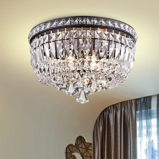 Elisa 4-light Antique Black and Crystal Flushmount Chandelier