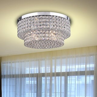 Francisca Two Tier Crystal Flush Mount Chandelier in Chrome