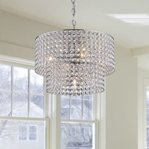 Ainhoa 5-light Chrome Double Round Crystal Chandelier - 14 inches in diameter x 11.4 inches high