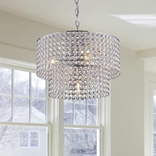 Grey chandeliers for less overstock silver orchid taylor 5 light chrome double round crystal chandelier aloadofball Gallery