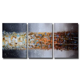 Hand-painted 'Abstract 658' 3-piece Gallery-wrapped Canvas Art Set