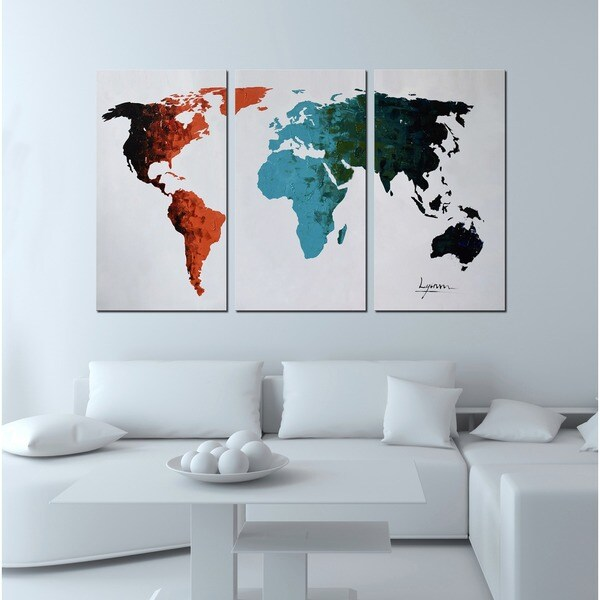 Clay alder home hand painted world map 3 piece gallery wrapped clay alder home hand painted x27world mapx27 3 gumiabroncs Choice Image