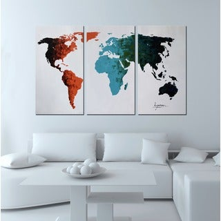 Hand-painted 'World Map' 3-piece Gallery-wrapped Canvas Art Set