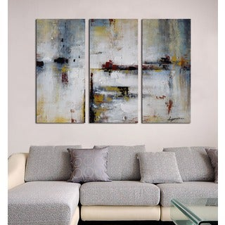 Hand-painted 'Abstract 666' 3-piece Gallery-wrapped Canvas Art Set