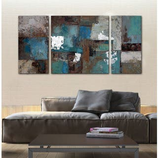art pictures for living room. Hand painted  Ancient Castle 3 piece Gallery wrapped Canvas Art Set For Less Overstock com