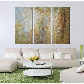 Hand-painted 'Grass Land' 3-piece Gallery-wrapped Canvas Art Set
