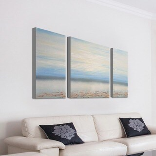 Hand-painted 'Abstract Ocean' 3-piece Gallery-wrapped Canvas Art Set