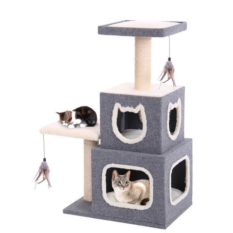 Dual Hide-Away Tower with Landing Pad & Scratching Posts