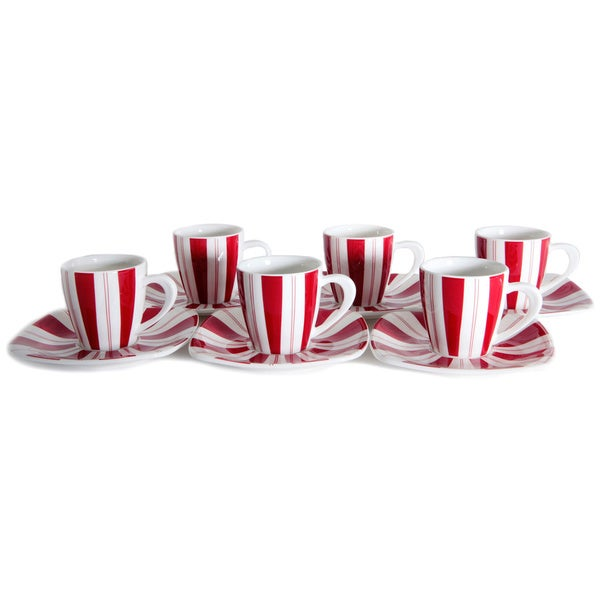 Tuxedo Rouge 3-ounce Tea Cup and Saucer (Set of 6)