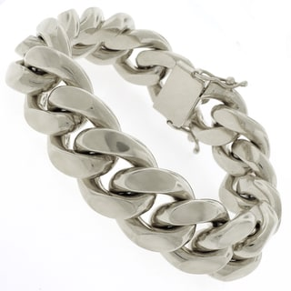 Rhodium-plated Sterling Silver 20mm Solid Miami Cuban Link Bracelet
