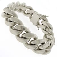 """Sterling Silver 19.5mm Miami Cuban Curb Link Thick Solid 925 Yellow Gold Plated Bracelet Chain 9"""""""