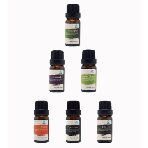 Pursonic 100% Pure Essential Aromatherapy Oils Gift Set-6 Pack - 10 ML - Clear