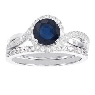 H Star 14k White Gold and 24k Rose Gold 3/4ct TDW Diamond and Round Sapphire Wedding Ring Set (I-J, I2)