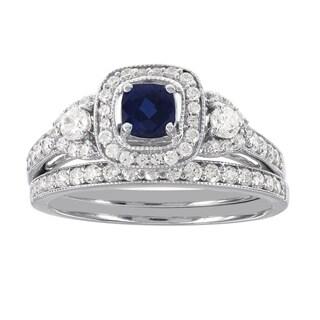 H Star 14k White Gold 3/4ct Diamond and Cushion Sapphire Wedding Ring Set (I-J, I2)