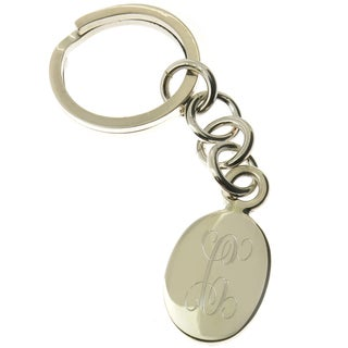 Handmade .925 Sterling Silver Personalized Oval Key Ring (Mexico)
