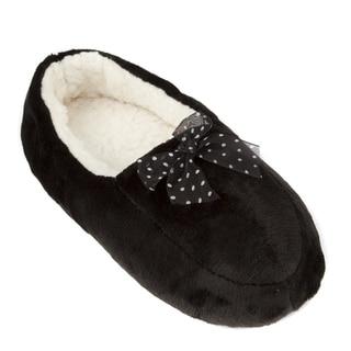 Leisureland Women's Coral Fleece Bowtie Cozy Slippers
