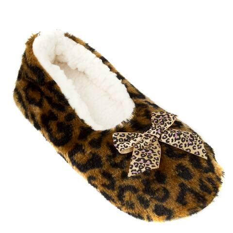 Leisureland Womens Fleece Lined Animal Cozy Slippers